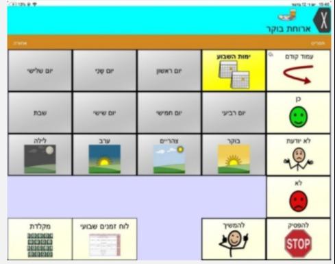 דוגמא של לוח תקשורת