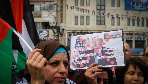 הפגנה בשכם נגד ההכרזה של טראמפ