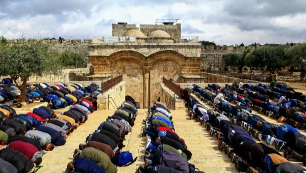 עבודות בלתי חוקיות? מוסלמים מתפללים בשער הרחמים