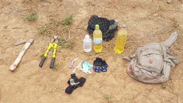 הכלים שנתפסו ברשות המחבלים שנורו בדרום הרצועה