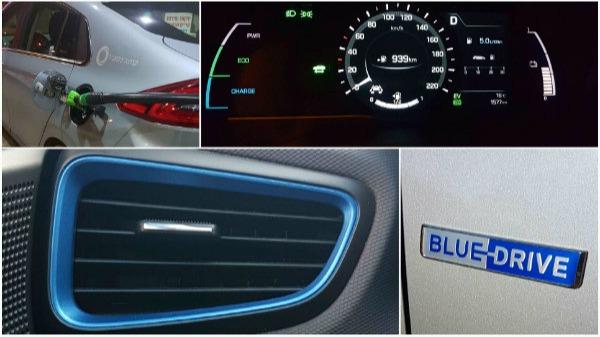 רכב היברידי ירוק עם סממנים כחולים וצריכת דלק נמוכה