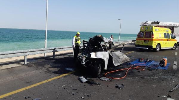 רכבם של בני משפחת עטר שנספו בתאונה בים המלח