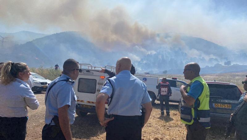 הכוחות בשרפה ליד תל קשיש