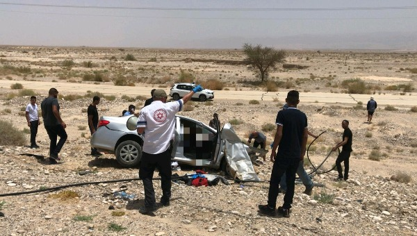 זירת התאונה בכביש הערבה