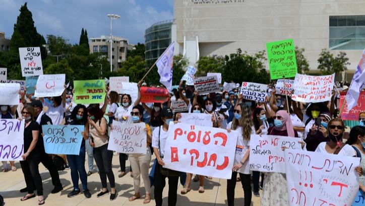 הפגנת העובדים הסוציאלים, הבוקר בתל אביב