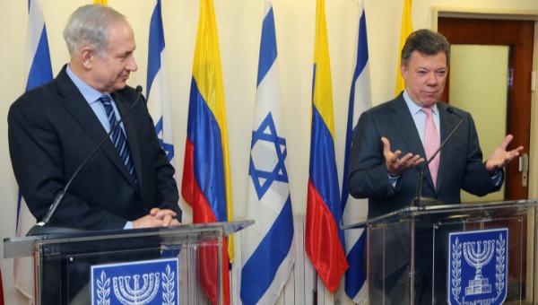 נתניהו עם נשיא קולומביה היוצא. הכיר במדינה פלשתינית