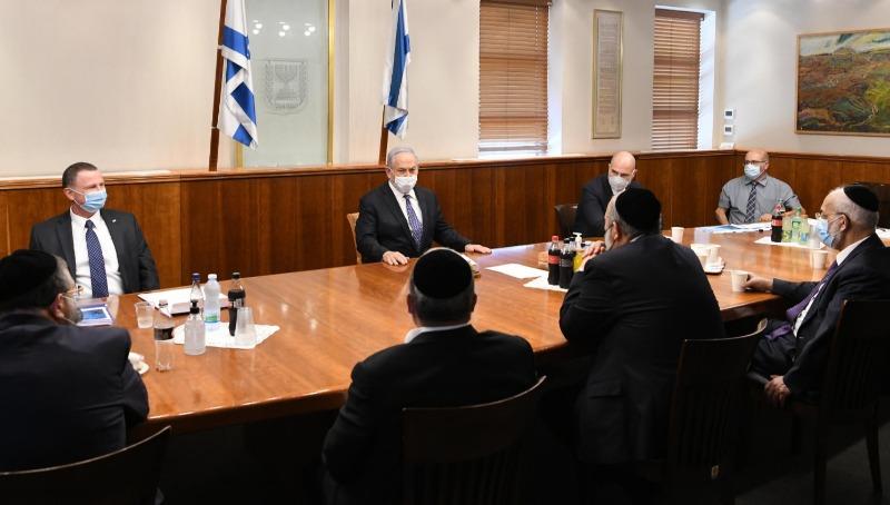 נתניהו, אדלשטיין ואוחנה עם חברי יהדות התורה