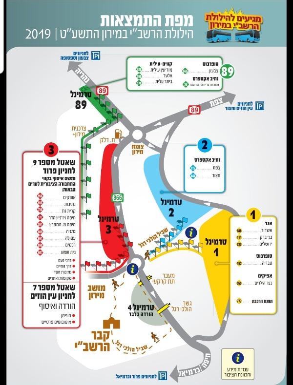 """מפת הכבישים סביב מירון בל""""ג בעומר"""