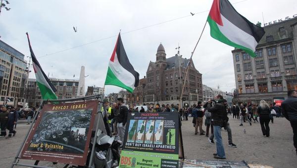 מאבק באנטישמיות. הפגנה של ה-BDS באמסטרדם. ארכיון