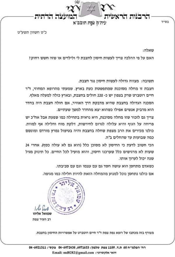 מכתבו של הרב שמואל אליהו
