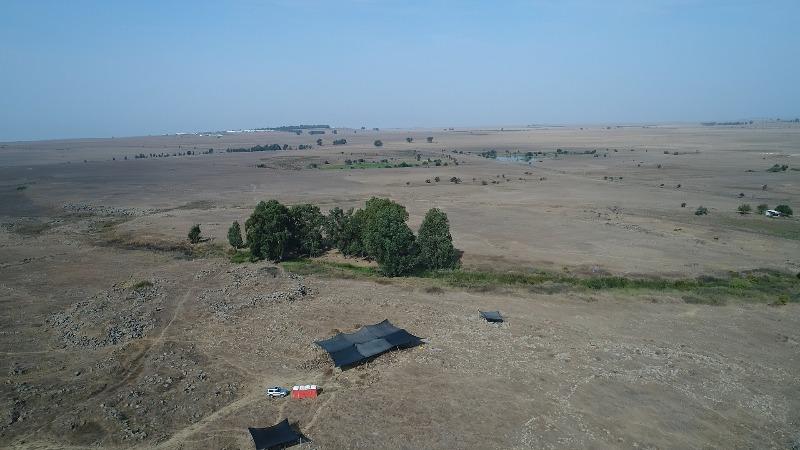 חפירת רשות העתיקות בחיספין, מבט אווירי