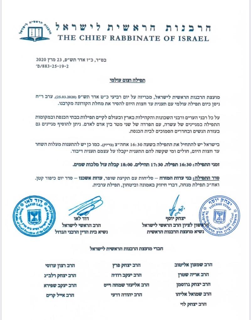 מכתב הרבנים הראשיים לישראל