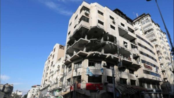 """מבנה בשימוש מערך הסייבר של חמאס לאחר תקיפת צה""""ל"""