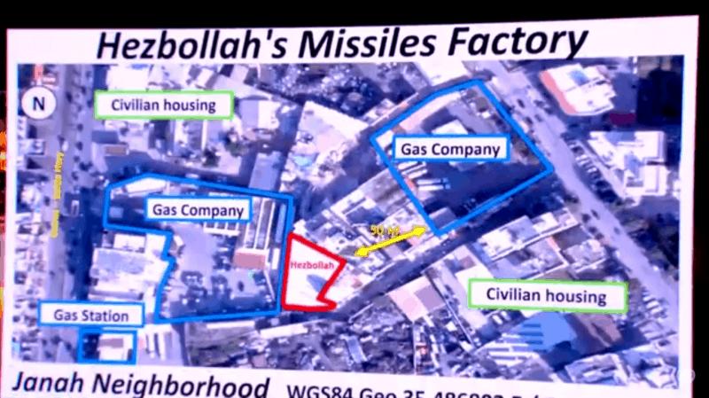 תצלום אווירי של ביירות. מחסני הנשק מסומנים באדום