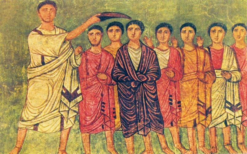 דוד לבוש ארגמן במועד משיחתו למלכות על ידי שמואל פסיפס בית הכנסת בדורה אירופוס, סוריה