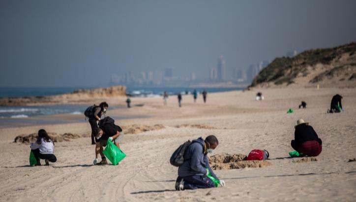 מנקים את חוף פלמחים מזפת