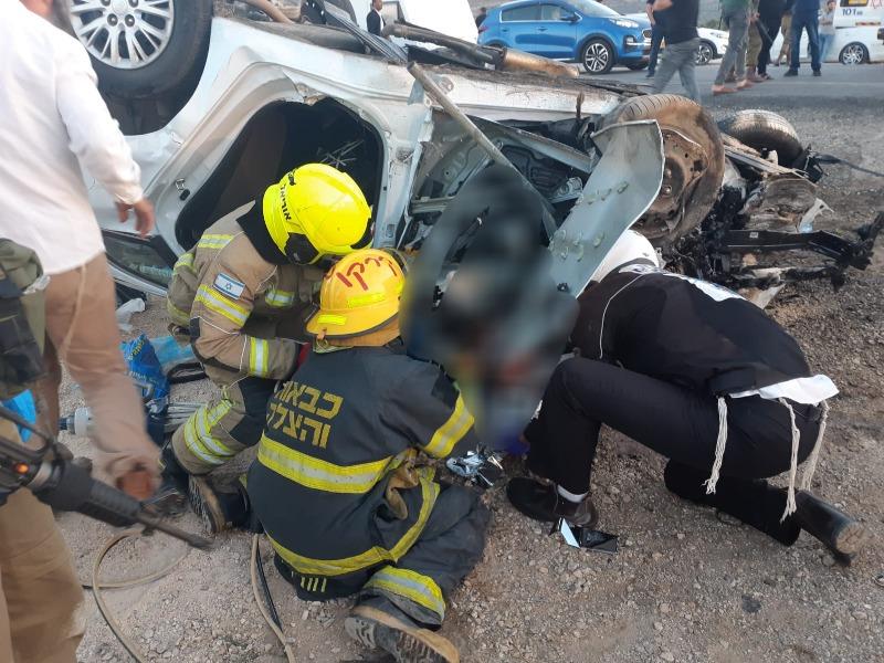 פעולות החילוץ מהתאונה סמוך למגדלים