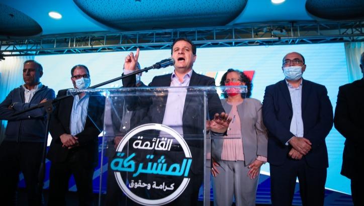 איימן עודה וחברי הרשימה המשותפת ביום הבחירות