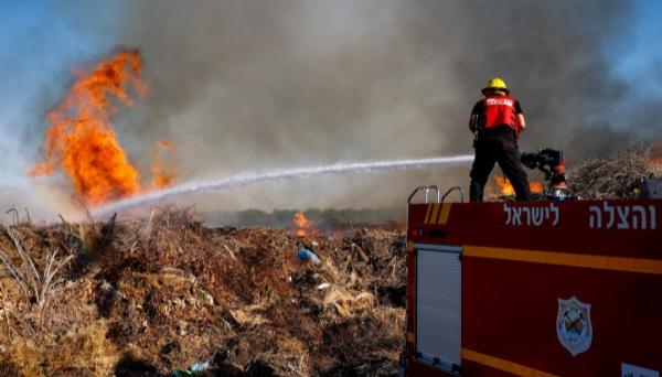 אחרי שיגור הבלונים: שרפה גדולה בעוטף