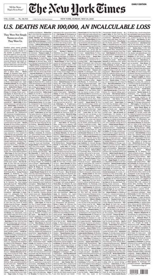 בשער ה'טיימס' אלף שמות של מתים, הנגיף מתפשט בברזיל | הקורונה בעולם